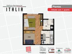Planta Quitinete/Kitnet 1 quarto. Projeto Edifício Residencial Itália. Rua Jovino do Rosário, 1408. Boa Vista.