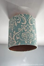 While They Snooze: How to Cover an Ugly Light Fixture Light Fixture Covers, Light Fixtures, Decor Crafts, Diy Home Decor, Diy Crafts, Crafty Kids, Diy Projects To Try, Lamp Light, Arts And Crafts