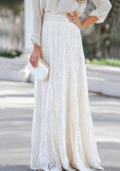 White Plain Elastic Waist Sweet Lace Skirt