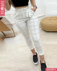 Women Plaid High Waist Skinny Pencil Drawstring Ankle-length Pants - School Clothes - Want - Fashions Trend Fashion, Fashion Pants, Fashion Dresses, Fashion Tips, Womens Fashion, Style Fashion, Female Fashion, Work Fashion, Fashion Websites