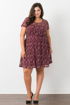 Suzy Shier Curve Appeal Lace Skater Dress