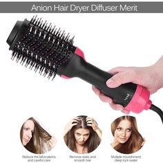 One Step Hair Dryer & Volumizer,Hot Air Brush Styler and Dryer Negative Ion Straightener&Curly Brush Hair Dryer with Comb for All Hair Type with Anti-Scald Feature Best Makeup Tips, Best Makeup Products, Hair Dryer Brush, Pigmentation, One Step, Eyebrow Tutorial, Hair Styler, Dry Brushing, Smooth Hair