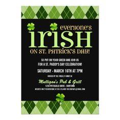 St. Patrick's Day Party Invitations Argyle St. Patricks Day Party Invitations