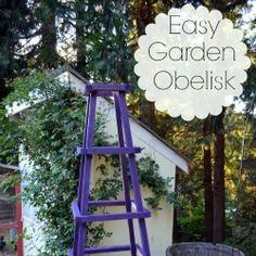 Here's an easy garden trellis obelisk you can make for next to nothing. Painting it purple will make the obelisk a wonderful focal point for your garden. DIY by Flower Patch Farmhouse. Love Garden, Diy Garden, Garden Crafts, Dream Garden, Garden Projects, Garden Ideas, Diy Projects, Diy Crafts, Garden Arbor