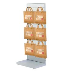 Slatwall Impulse Display which holds 6 lots of Reusable Bags! Bag Display, Slat Wall, Reusable Bags, Packing, Retail, Holiday Decor, Home Decor, Products, Bag Packaging