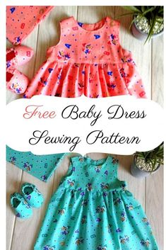 Easy Baby Girl Dress Sewing Pattern - Sew Crafty Me - - This is an easy baby girl dress sewing pattern, which does not take much time or fabric to sew. You can complete it quickly to get a boutique style dress! Crochet Baby Dress Pattern, Baby Girl Dress Patterns, Baby Clothes Patterns, Dress Sewing Patterns, Pattern Sewing, Skirt Patterns, Coat Patterns, Pattern Drafting, Blouse Patterns