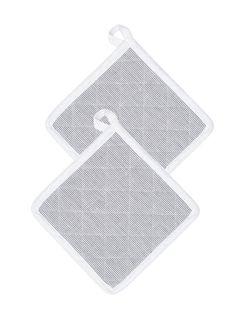 Lote de 2 pegas quadradas com vivo e presilha contrastantes. Comfecionadas em tecido às riscas tecidas em 98% algodão com fios metalizados, 2% lurex. Dim.: - Venca - 517003