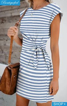 Prom dresses - Short Sleeve Striped Knotted Casual Dress Halter Short Homecoming Dress Source by reppafashion - Casual Dresses For Women, Short Sleeve Dresses, Clothes For Women, Elegant Dresses, Sexy Dresses, Summer Dresses, Formal Dresses, Pretty Dresses, Backless Dresses