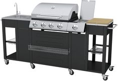 Off the shelf outdoor kitchen - It's got the BBQ, a hob, a worktop and a sink that connects to a hoselock fitting, so it's defi - Poured Concrete Counters, Concrete Blocks, Pallet Building, Real Fire, Diy Shops, Patio Table, Fun Cooking, Bbq, Sink