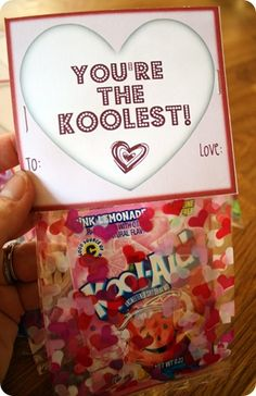 Kool-Aid valentine treats! (Includes free printable.) - could also be a treat favor for party