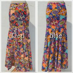 Maxi skirt -Exotic mermaid Red n Blue-  #naturaleeza #fashion #ethnic #clubnight