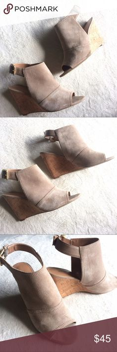 """Nine West Paton Wedge Sandal Nine West Paton Wedge Sandal in a beautiful tan leather with cork heel.  Details: Like new, worn once. Only sign of wear is on the sole. 3 1/4"""" Wedge heel Ankle buckle strap Peep toe Nine West Shoes Wedges"""