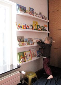Book Display - good idea for the playroom.