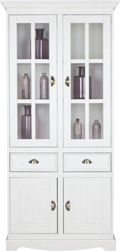 Vitrine Claudia - Diese nostalgische Vitrine aus der Serie CLAUDIA punktet mit romantischem Design im Landhausstil und ist ein hübscher Blickfang und stilvoller Aufbewahrungsort für Geschirr und Dekoartikel.