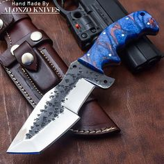 ALONZO KNIVES USA CUSTOM HANDMADE TANTO BUSHCRAFT TRACKER 1095 KNIFE CORELON 653 #AlonzoKnives