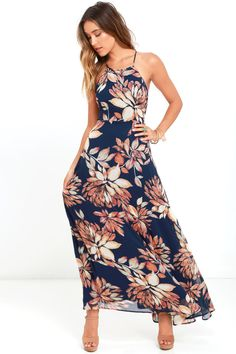 f4df29bcda34 Lulus | Adventure Seeker Navy Blue Floral Print Maxi Dress | Size Large |  100% Polyester