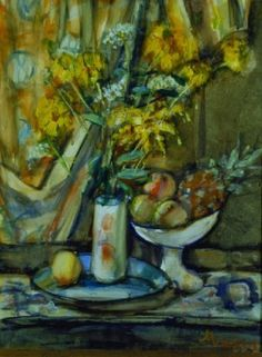 Sigmund Joseph Menkes American, 1896-1986  STILL LIFE WITH FLOWERS, PEACHES AND A PINEAPPLE