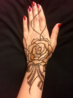 Rose & bow henna