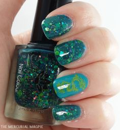 The Mercurial Magpie - Nail Art - Emily De Molly Monet's Garden with Turquoise Dragon Stamping
