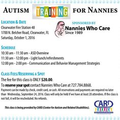 ANOTHER AweSome Autism training for childcare providers/nannies opportunity is being offered by Nannies Who Care!! Join us on Saturday October 1 2016 at Clearwater Fire Station 48 (Belcher Rd south of Sunset). 3 hours - great for your resume!! ALL CHILDCARE PROVIDERS WELCOME!! To register contact Debbie at Nannies Who Care.727.784.8868.  ONLY $20!! Includes class and light refreshments.  #autism#training#autismtraining #resume#CARD#registertoday #childcare#nanny#nannylife #nannieswhocare