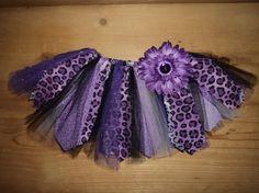 Purple Leopard Scrap Fabric Tutu