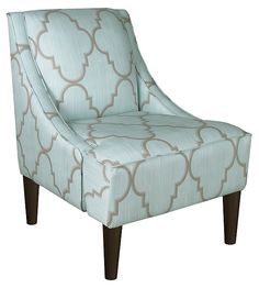Quinn Swoop-Arm Chair, Blue/Silver | The Best of Both | One Kings Lane
