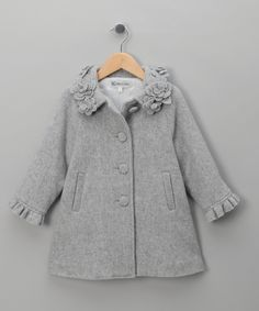 Grey Flower Applique Coat - Infant, Toddler & Girls $69.50