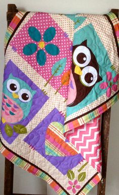 Girl Baby Quilt, What a Hoot, Modern Baby Quilt, Girl Quilt, Owls, Retro Baby Quilt, Cream, Purple, Pink, Green, Floral on Etsy, $89.00