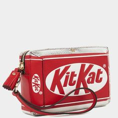 ANYA HINDMARCH   KitKat clutch   Bright red printed capra leather, suede lining, gold-tone hardware   H 7.5cm, W 15.5cm, D 4cm   £795.00   Pre-ordering from Autumn Winter 2015 collection   Due for delivery in September 2015