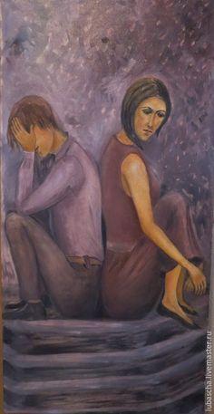 Купить Мужчина и женщина. Два одиночества. - сиреневатый оттенок, мужчина и женщина, холст на подрамнике, масло