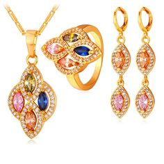 0f6840a6ba 18K Gold Plated AAA Cubic Zirconia Women Wedding Jewelry Set Fashion  Necklace Earrings Ring Sets Pendant