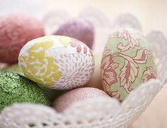 Paper covered egg instructions~T~ These make a beautiful decoration for your table. There are so many lovely papers prints out there.