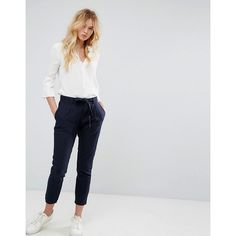 J.D.Y Linen Feel Crop Trouser with Tie Belt ($33) ❤ liked on Polyvore featuring pants, capris, navy, linen crop pants, patterned pants, linen trousers, cropped trousers and cropped pants