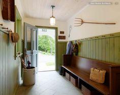 Joan Heaton Architects | Foyer | Green Wainscot | Long Bench