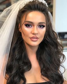 wedding hairstyles with tiara - Long Hair Wedding Styles, Elegant Wedding Hair, Long Hair Styles, Bridal Hair Updo, Wedding Hair And Makeup, Open Hairstyles, Bride Hairstyles, Mode Ootd, Wedding Day Makeup