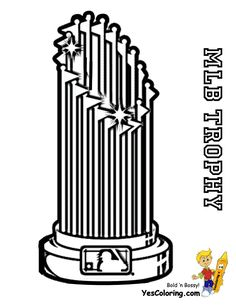 New Pro NL Baseball Coloring Pictures For You to Print. Free coloring pages baseball Major League. Slide crayon on sports coloring pages New York Mets, Braves, Cubs, Padres...This is the MLB trophy coloring page.
