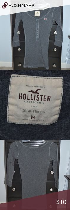 Hollister top Grey, 3/4 sleeve thermal Hollister top in great condition! 15 in. across chest Hollister Tops