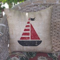 Cottage Nautical Sail Burlap Beach Pillow