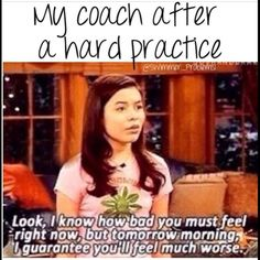 Two ways to view this: You are feeling tired, but you will be sore tomorrow You are feeling tired, but morning practice is gonna be so. Much. :) 2 a day practices coming soon Softball Memes, Volleyball Quotes, Sports Memes, Cheerleading Memes, Funny Gymnastics Quotes, Softball Sayings, Funny Sports Quotes, Funny Soccer, Cheer Quotes
