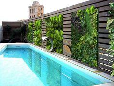 valla de madera con jardín vertical