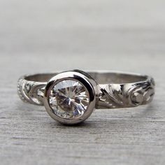 Sweet Moissanite and 950 Palladium Engagement or Wedding Ring - Eco-Friendly Diamond Alternative - Made To Order. $798.00, via Etsy.