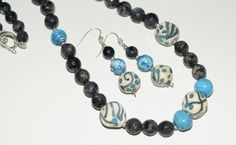 Larvikite and Lampwork Necklace