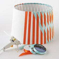 Cute criss-cross lamp shade. No sewing, just glue.