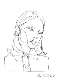 """Gaze 239 (Léa Seydoux)"", one-continuous-line-drawing by Boris Schmitz, 2015 »…"