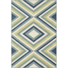 The Blue and Green Geometric Indoor/Outdoor Rug from the Groundwerk Baja Collection features a trending geometric zig zag pattern in blue and green, adding an eye-catching and stylish modern accent to complement your decor. Navy Rug, Rectangular Rugs, Indoor Outdoor Area Rugs, Outdoor Living, Outdoor Rooms, Geometric Rug, Graphic Patterns, Color Patterns, Color Schemes