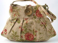 linen flowers  small and sexy bag  purse handbag by daphnenen on etsy.