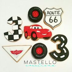 Lightning McQueen themed cookies 3rd birthday party made by Mastello Creations