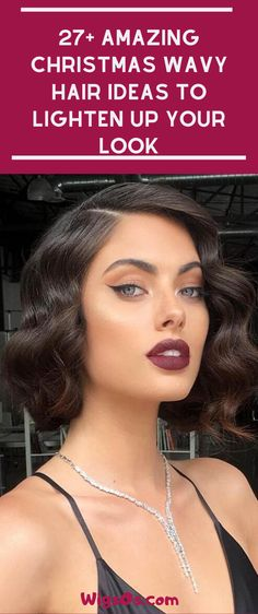 : : 27 Amazing Christmas Wavy Hair Ideas to Lighten Up Your Look Prom Hair Medium, Short Straight Hair, Medium Hair Styles, Curly Hair Styles, Popular Short Hairstyles, Wavy Bob Hairstyles, Cool Haircuts, Flapper Hairstyles, Christmas Look