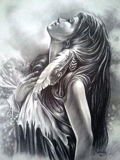 Custom Portrait or Figure in Graphite por AllenWoodyArt en Etsy Native American Drawing, Native American Tattoos, Native American Girls, Native American Pictures, Native American Artwork, Native Tattoos, American Indian Art, Koch Tattoo, Art Indien