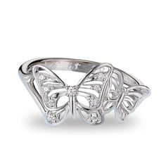 """A symbol of change and transformation.Sterling Silver is the standard for fine silver jewelry in the world over. Only Sterling Silver can be stamped with a """"fineness mark"""" of .925 indicating its high quality.FEATURES•Sterling silver CZ accented ring with an openwork double butterfly design•1.78 grams in weight• Size 5-10 available•CZ's measure 1mm and 1.25mmMATERIALS• Sterling silver• Anti-tarnish plating• CZsCARE• Use a s..."""
